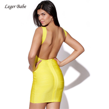 Leger Babe 2019 Hot Sexy Backless Summer Dress Women Pencil Club Party Wear Beach Bandage Dress Mini Bodycon Dresses Vestidos