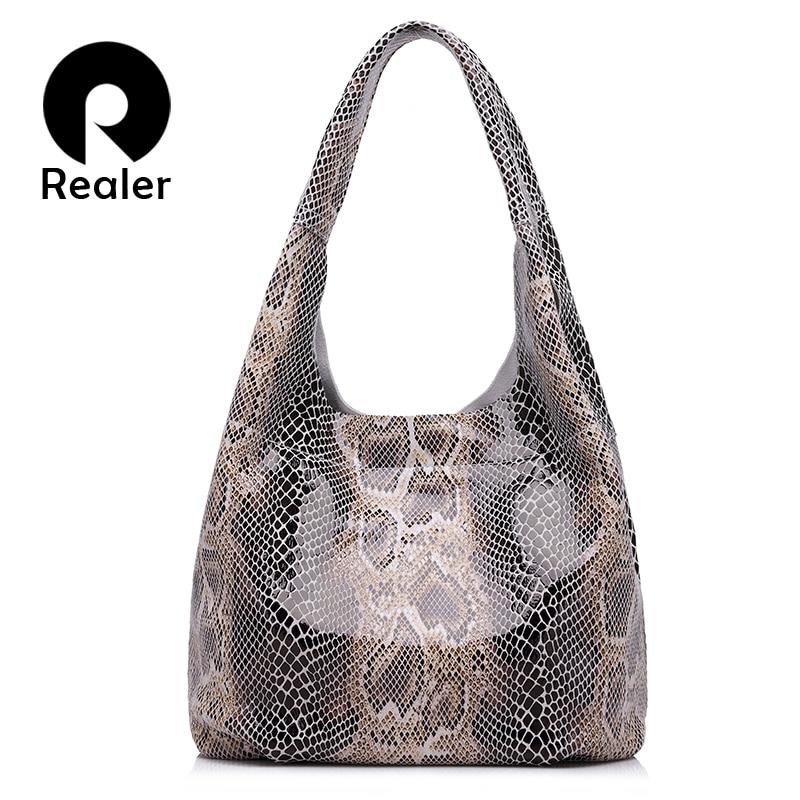 REALER brand genuine leather handbags women large tote bag classic serpentine prints leather shoulder bags ladies