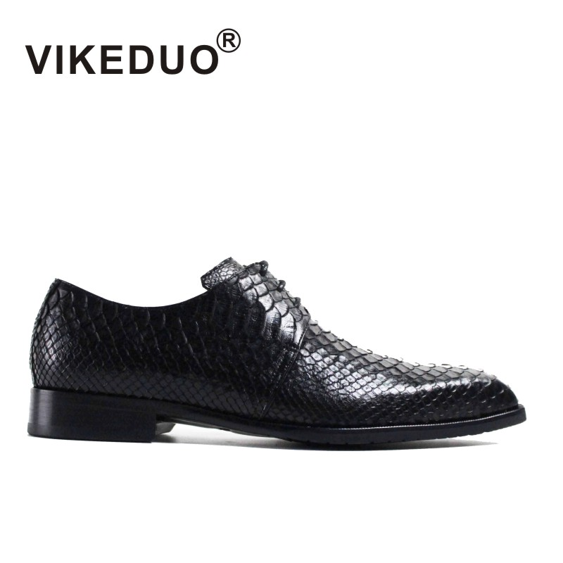 VIKEDUO Luxury Brand New Fashion Mens Derby Shoes Royal Genuine Snakeskin Italy Design Party Formal Shoe Luxury Black Footwear vikeduo luxury brand vintage retro handmade mens derby shoes brown fashion italy design wedding party shoes genuine leather