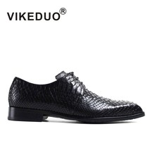 VIKEDUO Luxury Brand New Fashion Mens Derby Shoes Royal Genuine Snakeskin Italy Design Party Formal Shoe Luxury Black Footwear