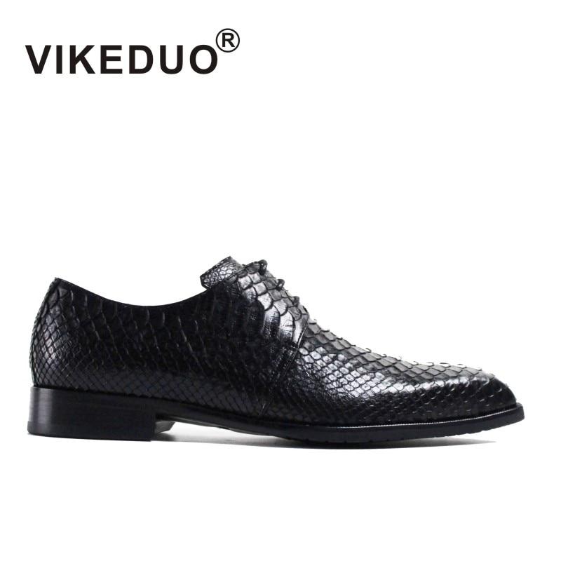 Vikeduo 2018 Handmade Snake Skin Designer Fashion Luxury Wedding Party Dance Brand Male Dress Genuine Leather Mens Derby Shoes
