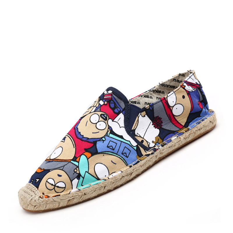 2018 Men Couple's Casual Espadrilles Light Shoes Cartoon Painting Canvas Loafers Flat Heerl Soft Hemp Shoes Fisherman Flats women and men s casual flat shoes loafers fisherman espadrilles boat shoes men lazy hemp rope weave shoes size 35 45