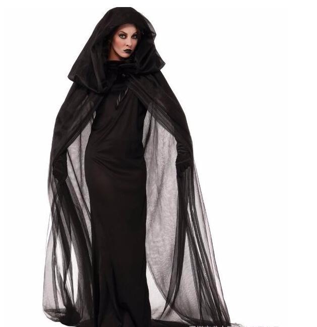Fantasia Black Fallen Angel Costume Transparent Mesh Long Sleeve Irregular Hem Fancy Dress Dark Halloween