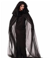 Fantasia Black Fallen Angel Costume Transparent Mesh Long Sleeve Irregular Hem Fancy Dress Dark Halloween