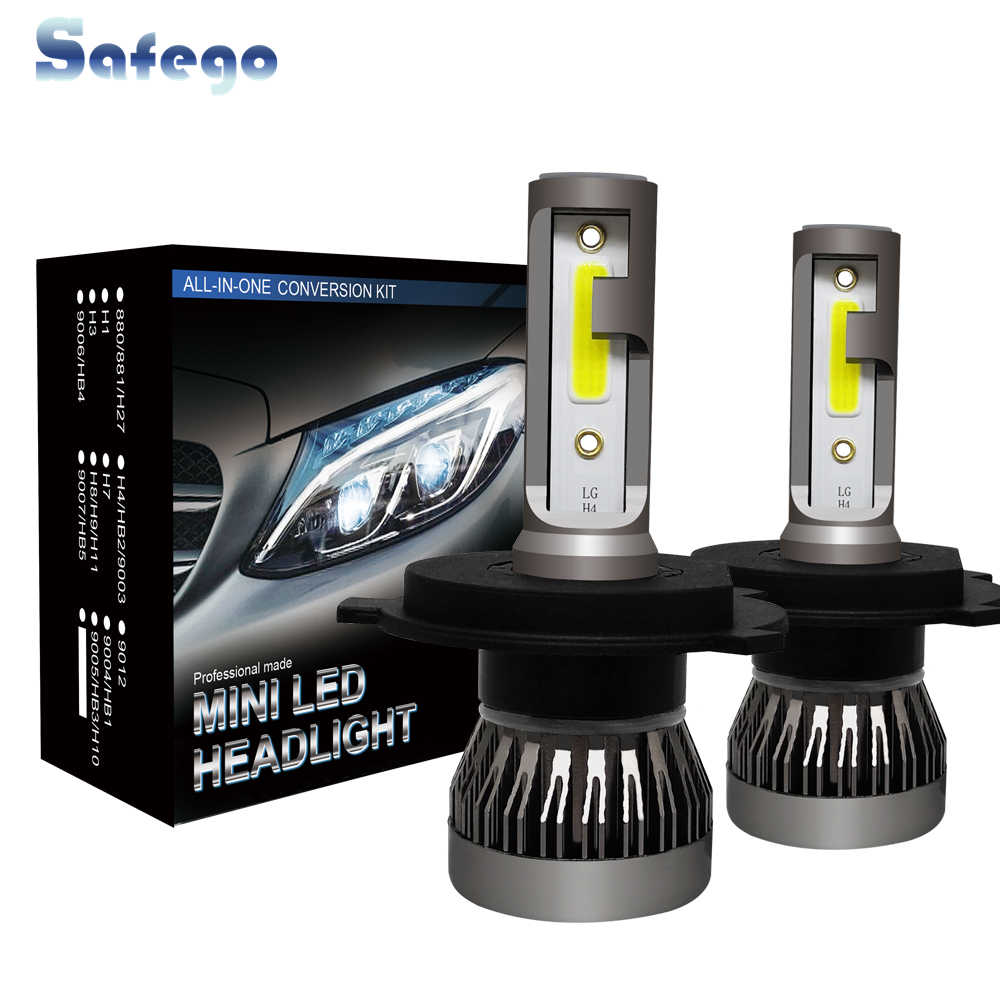 Safego 2pcs LED Headlight H4 HB2 9003 H7 H8 H9 H11 9005 HB3 Headlight Bulbs For Cars 18W 12V 3000LM 6000K Auto Super Bright
