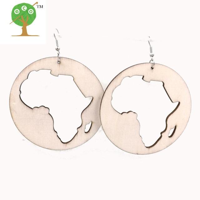 10 pairs rasta ankh african map afro earring unfinished natural wood AFROcentric big huge laser engraving burn ER565