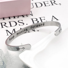 Wide 6mm Cuff Trendy Keep Going moving forward Bracelets Titanium Encouragement Bangle For Men Jewelry