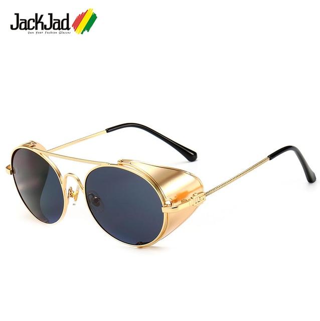 34d422957 JackJad 2019 di Modo Dell'annata SteamPunk Stile Punk Occhiali Da Sole  Rotondi In Metallo Scudo Lato Freddo di Disegno di Marca Occhiali Da Sole  Oculos De ...
