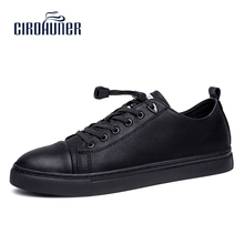 CIROHUNER Casual Men Winter Mens Shoes Leather Flats Casual Shoes For Men Boat Shoes Formal Brand Men Black