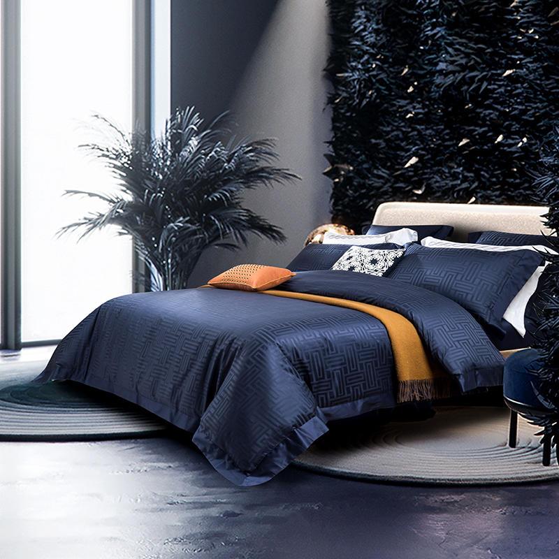 Luxury Egyptian Cotton Jacquard Bedding set Queen/King size Bed set Gray Blue Duvet cover Cotton Bed sheets set parure de lit