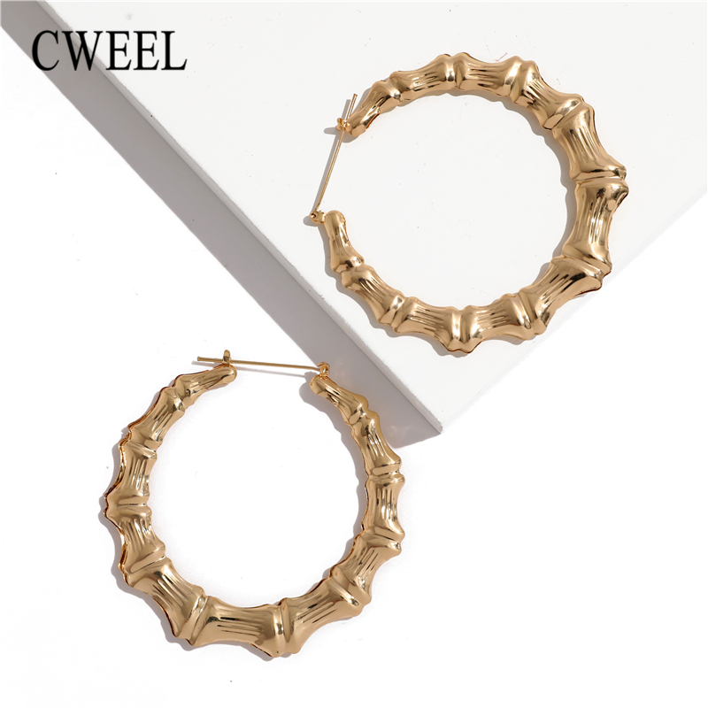 d49f6eb40e728 Aliexpress.com : Buy CWEEL Bamboo Earrings For Women Big Punk Hoop Earring  Brincos Gold Color Geometric Circle Star Vintage Round Earrings from ...