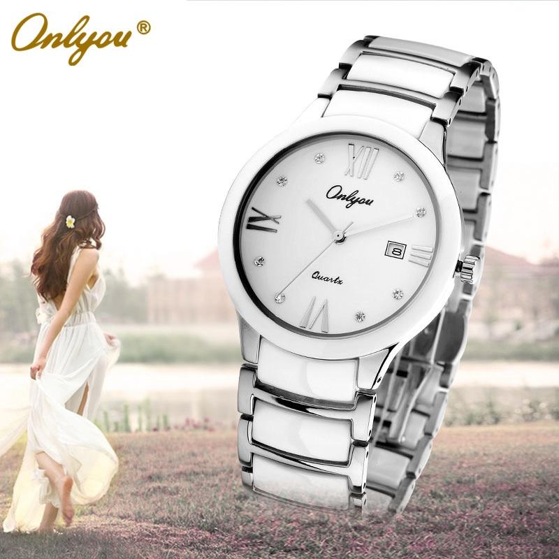 ФОТО Onlyou Brand White Black Ceramic Watches Womens Mens Fashion Quartz Watch Sapphire Crystal Ladies Dress Watch Female Clock 6911