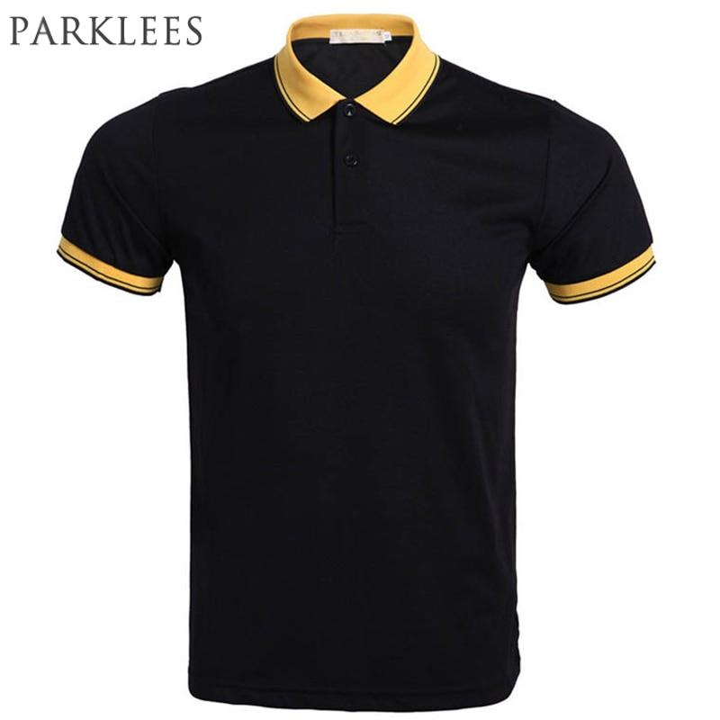 Marke Schwarz Polo Shirt Männer Polo Homme 2016 Sommer Stil Kurzarm Herren Polo Lässig Einfarbig Dünne Polo Shirts Auswahlmaterialien Oberteile Und T-shirts Polo