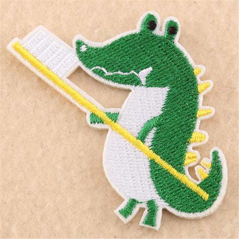 Clothing diy embroidery iron on patch deal with it dinosaur toothbrush biker patches for clothes stickers fabric free shipping image