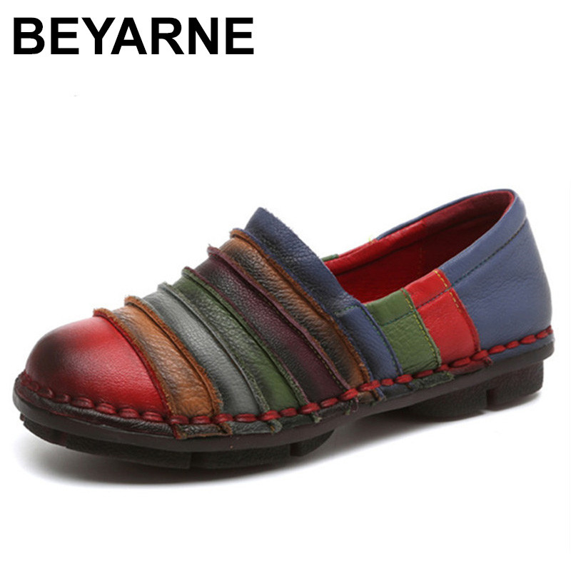 BEYARNE Genuine Leather Women Flats Shoes Fashion Patchwork Loafers Oxfords Shoes For Women Vintage Casual Shoes Woman new genuine leather shoes woman leather loafers cowhide flexible spring casual shoes women flats women oxfords comfortable shoes