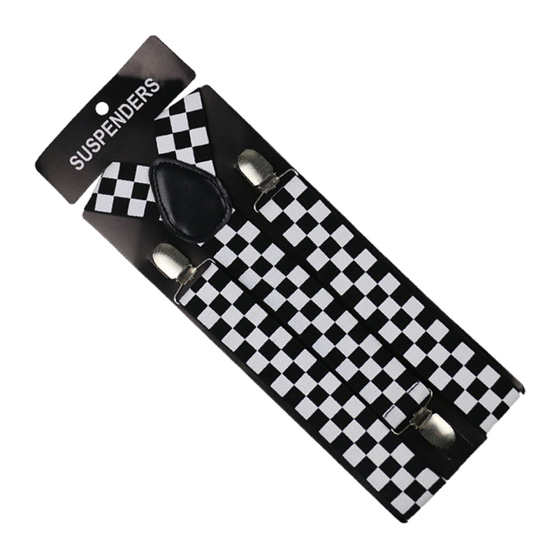 Winfox 3.5cm Wide Black White Women Men Plaid Adjustable Suspenders Unisex Elastic Wedding Braces