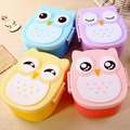 Lovely Cartoon Owl Lunchbox Bento Lunch Box Food Fruit Storage Container Plastic Lunch box Microwave Set Children Gift