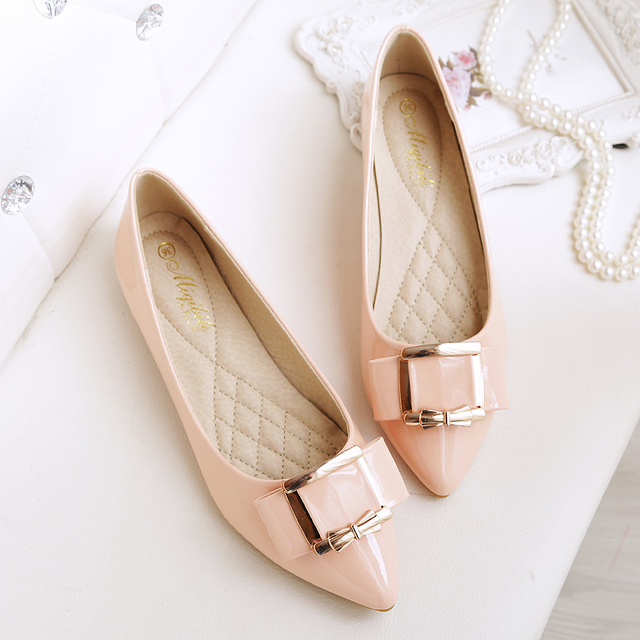Women flats Plus size 43 for sexy ladies shoes Bigger size 11 flats  Pointed-toe Pink color ni heels shoe China cheap shoes Woman 68eccf95dc