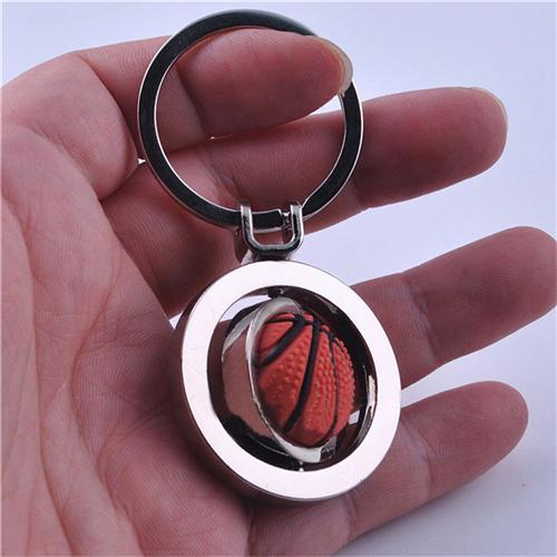 1Piece For Men Boy 3D Sports Rotating Basketball Football Soccer Keychain Ring Key Fob Ball Gifts Keyring
