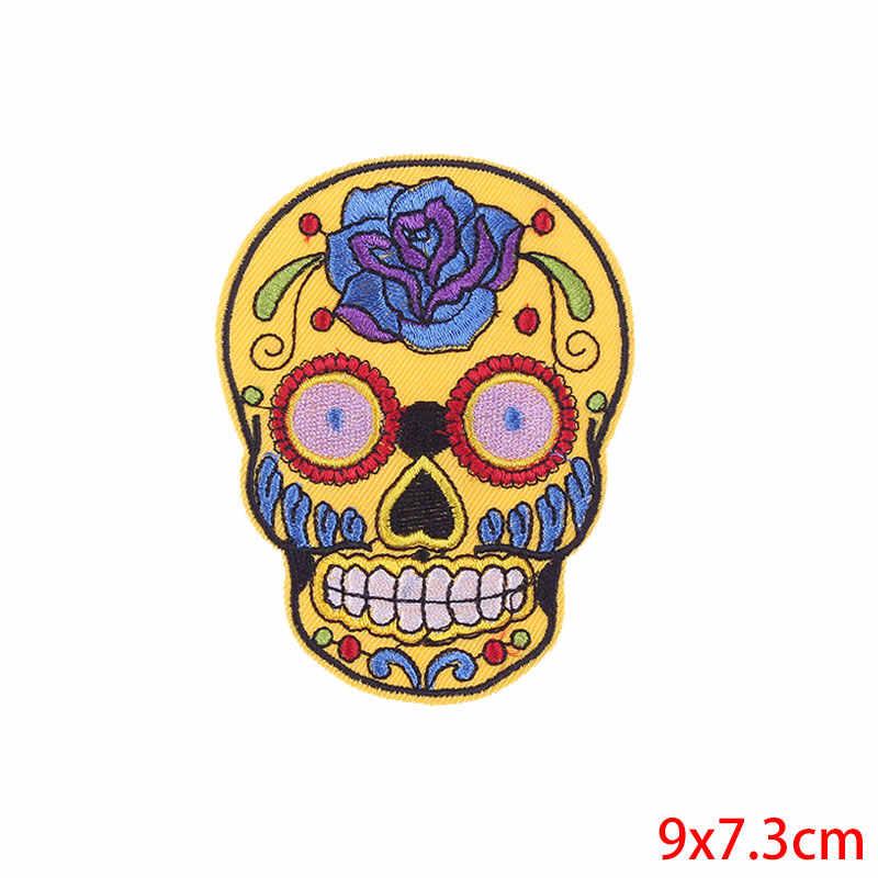 Prajna Punk Rock Cranio Toppe E Stemmi Ricamato Il Ferro Sul Toppe E Stemmi per Abbigliamento Biker Stile Del Fiore Della Rosa Sticker Sui Vestiti Applique Fai da Te