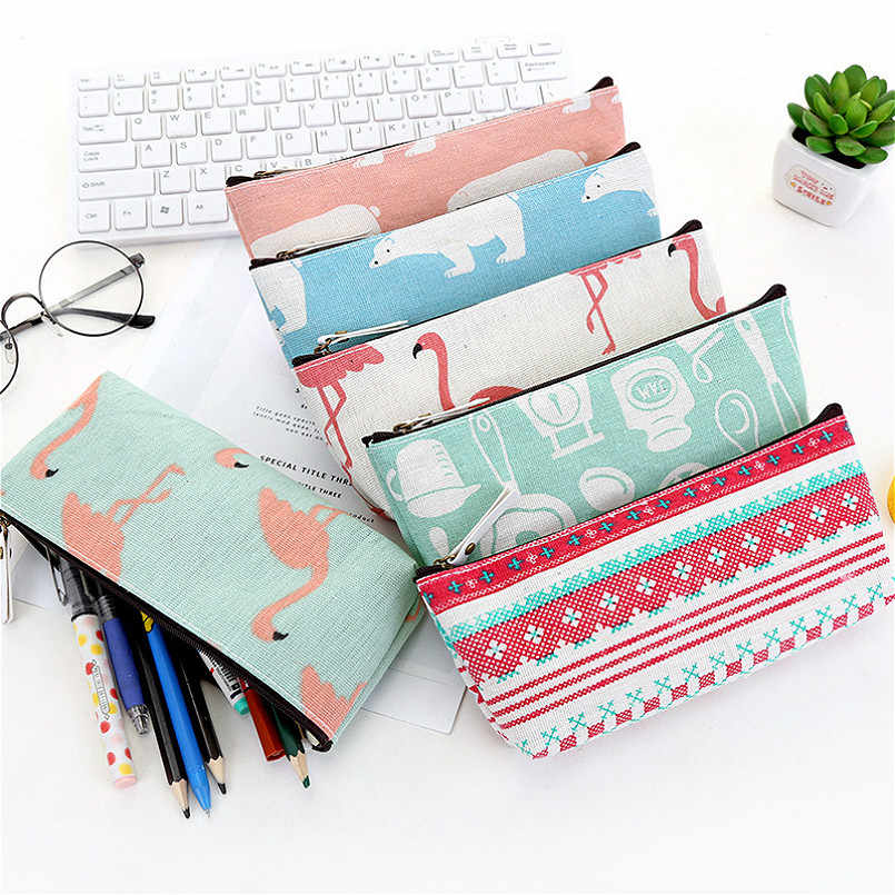 1PC Cute Polar Bear Canvas Pencil Cases Student Stationery Pen Bag Gifts School Office Pencil Bags Lovelty Pencil Pouch