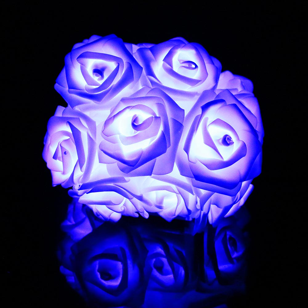 2 м 20 РОЗА светодиодная гирлянда с цветком Сказочный фонарь розовый романтический для праздника, свадьбы, Рождества, Дня Святого Валентина, декор L - Испускаемый цвет: Синий