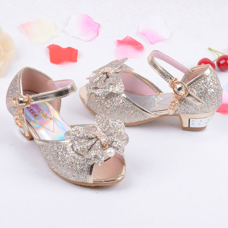b5a12332f5 Enfants 2016 Children Princess Sandals Kids Girls Wedding Shoes High Heels  Dress Shoes Party Shoes For Girls Pink Blue Gold-in Sandals from Mother &  ...
