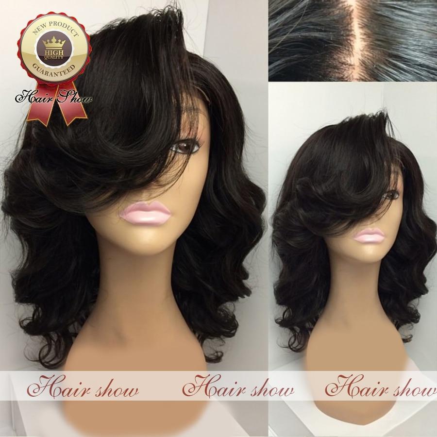 Short Wavy 4 inchX4 inch Silk Top Glueless Full Lace Wig Virgin Brazilian Human Hair Bob Wigs Black Women Body Wave Front - Guangzhou Hairshow Co,Ltd. store