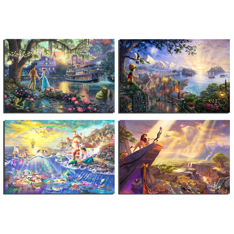 Thomas Kinkade Pocahontas Beauty And The Beast Sleeping Beauty Art Canvas Poster Painting Wall Picture Print Home Bedroom Decor