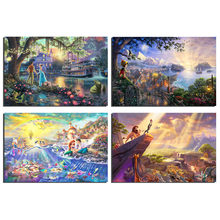 Thomas Kinkade Pocahontas Beauty And The Beast Sleeping Beauty Art Canvas Poster Painting Wall Picture Print Home Bedroom Decor(China)