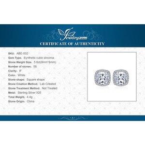 Image 5 - JPalace وسادة 5ct زركون هالو وأقراط 925 فضة أقراط للنساء أقراط الكورية مجوهرات الأزياء 2020