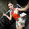 2017 High Quality Women's Satin Long Cheongsam Classic Chinese Style Spring Summer Sexy Qipao Dress Vestido Size S M L XL XXL