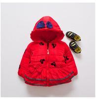 ילדים LongSleeve 2017 סלעית לעבות מעילי חורף תינוקות בנות חג מולד מיני מאוס ילדים לחמם את מעיל WindProof להאריך ימים יותר אדום