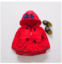 Kids Baby Girls Winter Coats 2017 Hooded LongSleeve Thicken Christmas Minnie Mouse WindProof Children Warm Down Coat Outwear Red