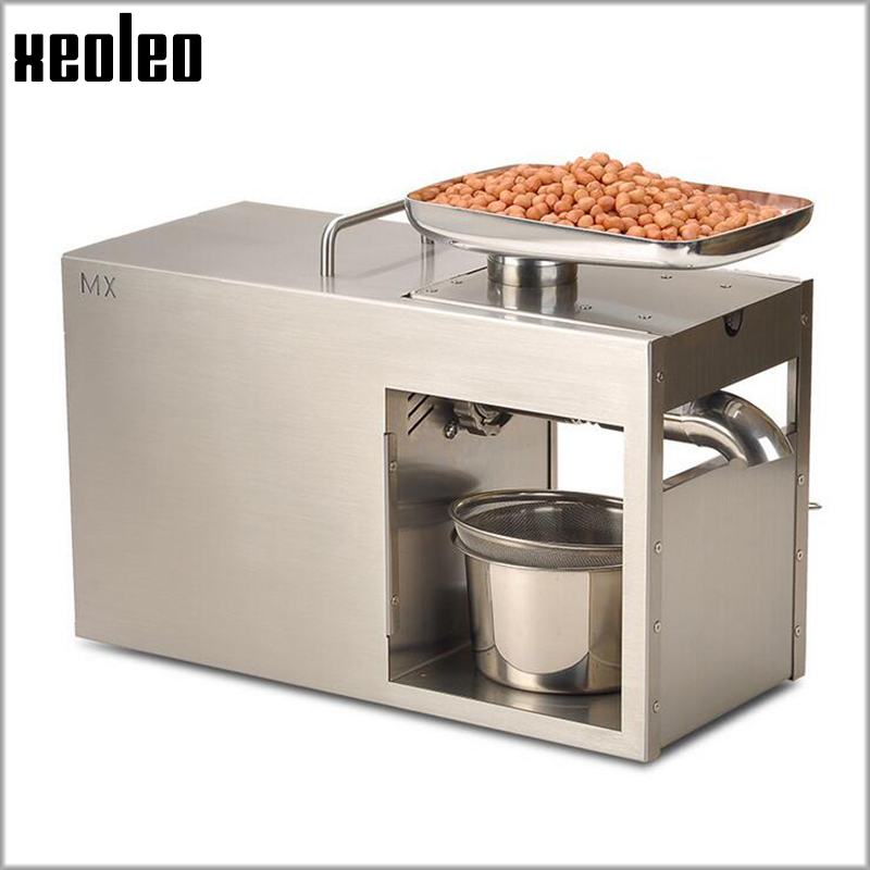 Xeoleo Stainless steel Oil presser Commercial&Home Flax seed Oil press machine Cold&Hot press Oil machine suitable for Peanut mini automatic oil press machine commercial home oil extractor expeller presser hot and cold press seed oil making machine zf