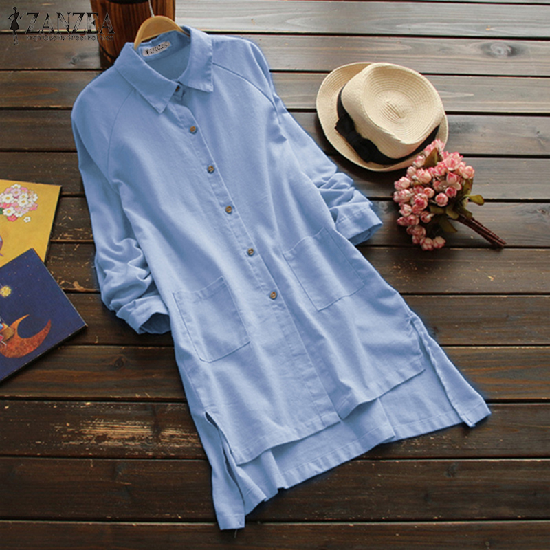 bf68559cd2588 2018 ZANZEA Plus Size Women Cotton Blouse Long Sleeve Shirt Button Down  Shirts Asymmetric Hem Tunic Top Casual Blusa Femininas-in Blouses   Shirts  from ...