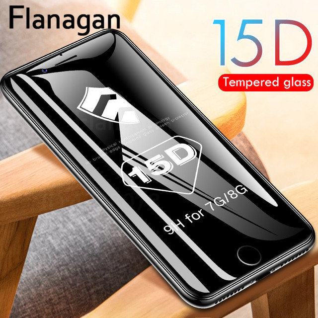 15D Protective Glass on the For iPhone 6 6s 7 8 plus XR X XS glass full cover iPhone Xs Max Screen Protector Tempered Glass 5