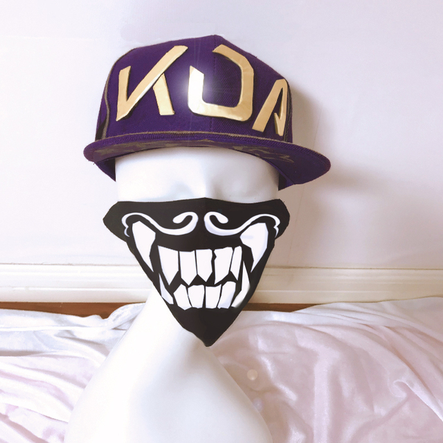 [STOCK] 2018 Game Game LOL KDA Akali Cosplay Hat/Nightlight Mask LOL K/DA Akali Cosplay Prop For Halloween Free Shipping New.  1