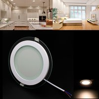 12W Round Led Panel Light Ultra Thin Glass Led Light Driver Included Ac85 265V Recessed Ceiling Panel Indoor Lamps Dropshipping