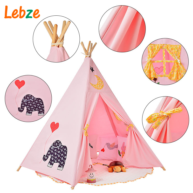 Five Poles Indian Play Tent Children Teepees Kids Tipi Tent Cotton Canvas Teepee White Play House for Baby Room red chevron canvas dog tent house pet teepee tipi dog tee pee cat teepee