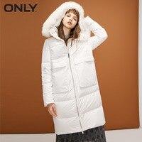 ONLY womens' winter new fox fur collar hooded long down jacket Waist drawstring Double start zipper|118312521