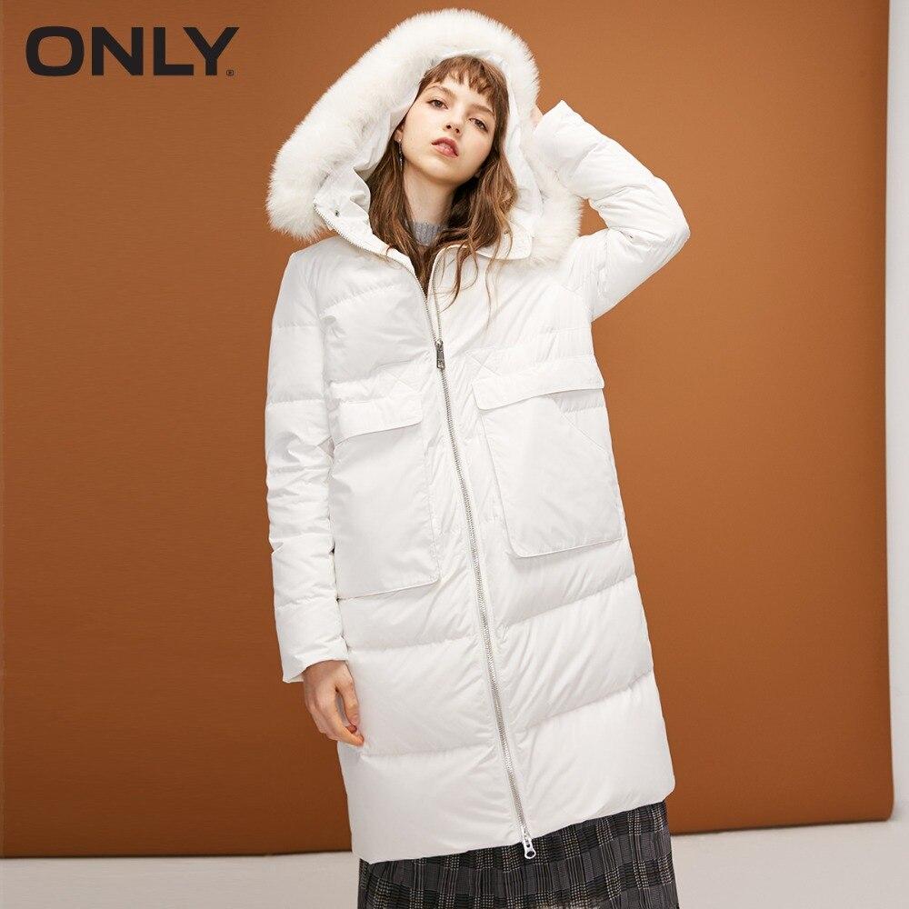 ONLY  Womens' Winter New Fox Fur Collar Hooded White Duck Down Long Down Jacket Waist Drawstring Double Start Zipper|118312521