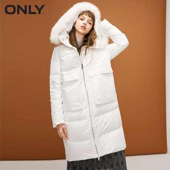 ONLY  womens' winter new fox fur collar hooded white duck down long down jacket Waist drawstring Double start zipper|118312521 - DISCOUNT ITEM  60% OFF All Category