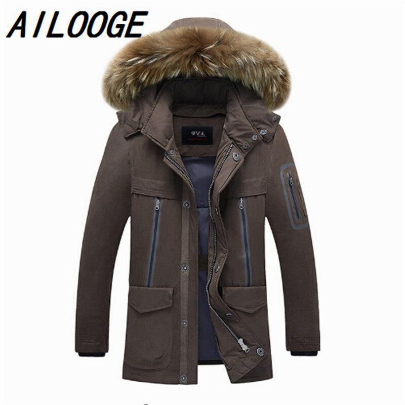 2016 New Winter Fashion   Down   Jacket For Men 90% White Duck   Down     Coat   Men'S Long section Warm Parkas