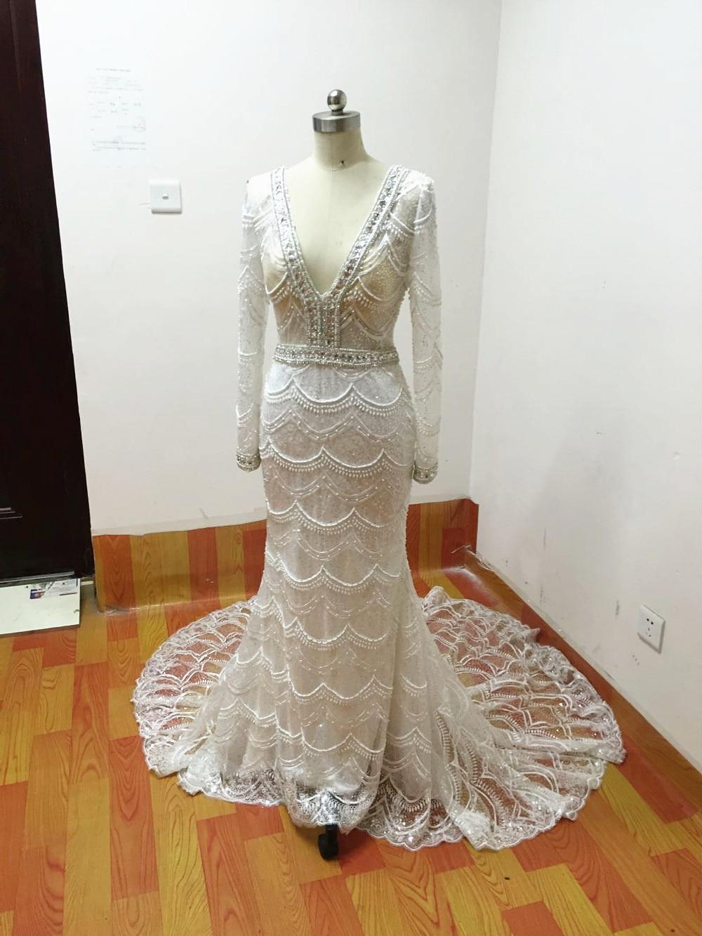 šitý na míru šatek Mermaid Svatební šaty 2015 dlouhé rukávy V - Svatební šaty - Fotografie 6