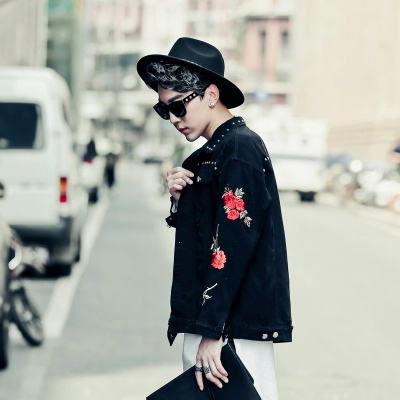 92a8726af8d Autumn Casual Denim Embroidery Jacket Men Short Style Black Jeans Jacket  Mens Fashion Plus Size Male Slim Fit Bomber Jacket