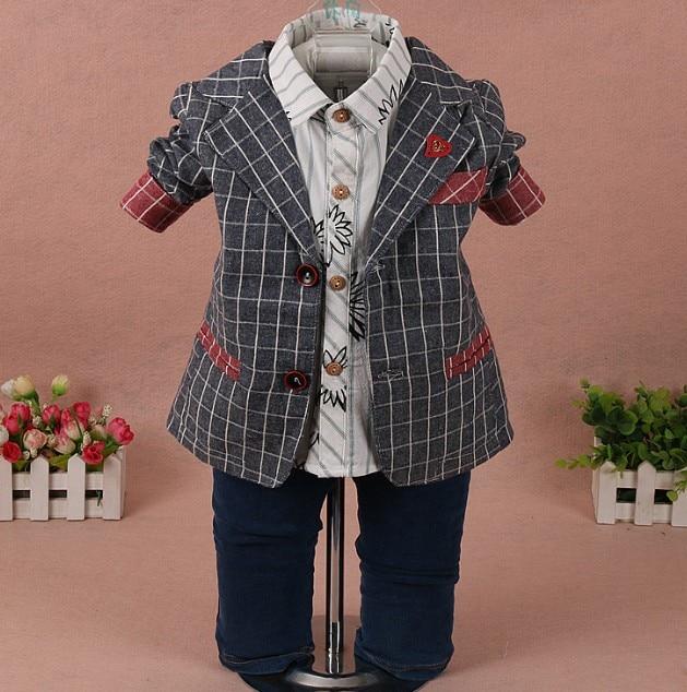 ФОТО new 2017 spring boys handsome plaid blazer+shirt+jeans clothing sets 3pcs baby boy clothes sets boys suit children casual suit