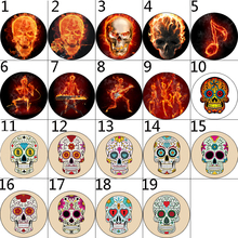 12mm 14mm 16mm 10mm 20mm 25mm 043 12pcs/lot Skull Mix Round Glass Cabochons Jewelry Findings 18mm Snap Button Charm Bracelet