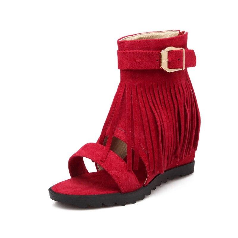 2018 Suede Mujer Orteils Sandales Red Boucle Partie À Ouvert Glissière Chaussures Sandalias beige Fermetures Faux black Gladiateur Nouveau Coins Rétro Femmes Glands cBHWByAO