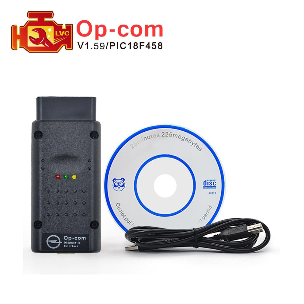 Prix pour Date V1.59 OPCOM avec PIC18F458 puce OP-COM obd2 pour opel auto can bus scanner OBDII outil de diagnostic op com Livraison gratuite